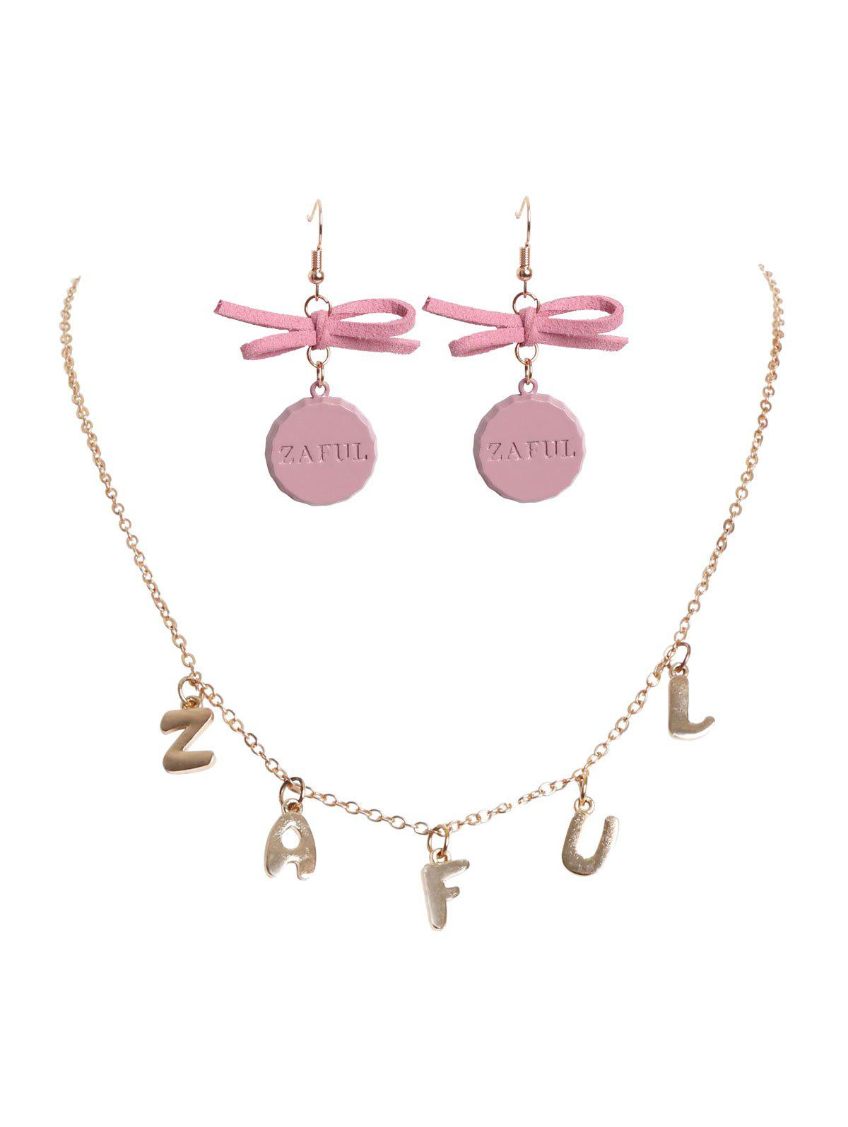 Outfit Charm Necklace Bowknot Cap Earrings Set