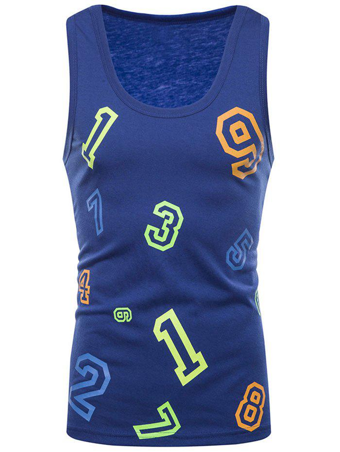 Latest Colorful Numbers Print Tank Top