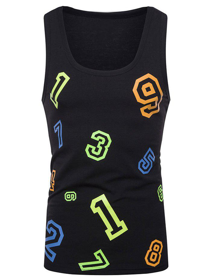 Discount Colorful Numbers Print Tank Top