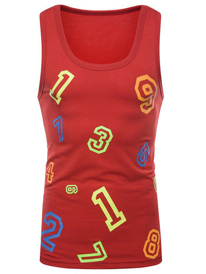 Store Colorful Numbers Print Tank Top