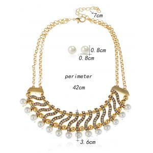 Faux Pearl Rhinestone Layered Necklace with Earrings -
