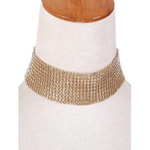 Plated Faux Crystal Chain Choker Necklace -