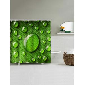 Leaves with Dew Print Waterproof Shower Curtain -