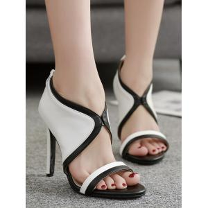 Chic Stiletto Heel Contrasting Color Sandals -