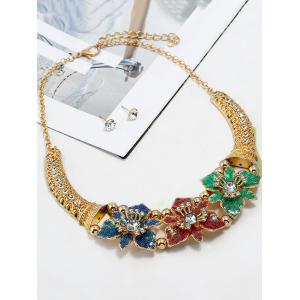 Flowers Decoration Layered Rhinestone Necklace with Earrings -