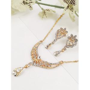 Rhinestone Water Drop Decoration Hanging Necklace with Flower Earrings -