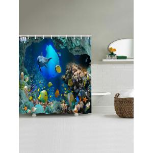 3D Sea World Dolphin Waterproof Bath Curtain -