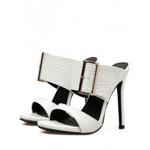 Chic Metal Buckled High Heel Sandals -