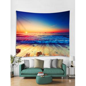 Wall Hanging Art Sunset Ocean Wave Print Tapestry -