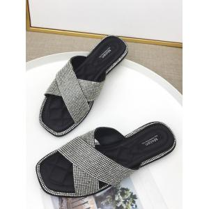Faux Diamond Inlay Cross Slippers -