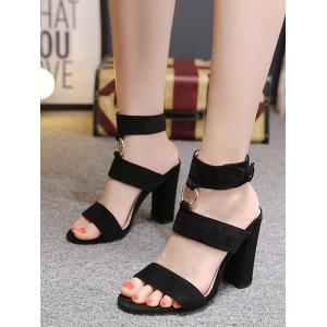 Ankle Strap Chunky Heel Chic Sandals -
