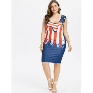Plus Size Stars and Stripes Sleeveless Dress -