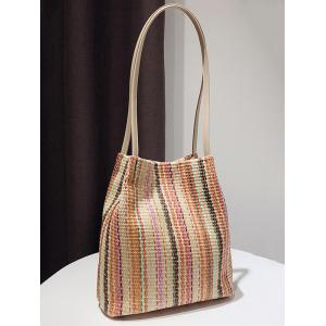 Casual Vacation Straw Scarf Shoulder Bag -