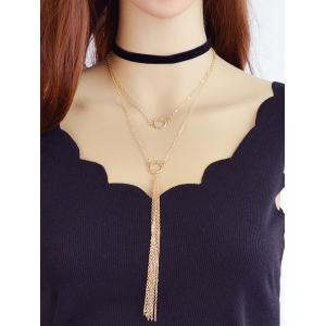 Layered Chain Pendant Necklace -