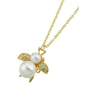 Bee Shaped Rhinestone Faux Pearl Pendant Necklace -