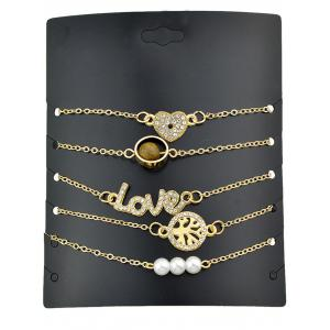 Heart Letters Shaped Artificial Pearl Chain Bracelets Set -