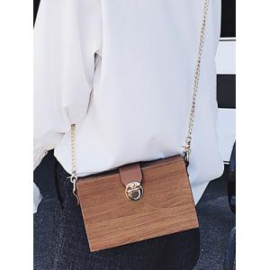 Wood Grain Chain Crossbody Bag -