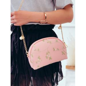 Embroidery Semicircle Shaped Faux Pearls Decorated Crossbody Bag -