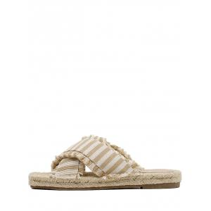 Straw Striped Leisure Flat Slippers -