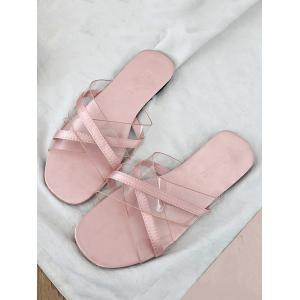 Flat Heel Crisscross Transparent Slides -