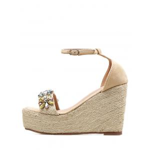 Faux Crystal Floral Ankle Strap Wedge Heel Sandals -