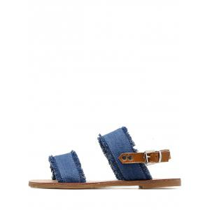 Jean Cloth Slingbacks Flat Sandals -