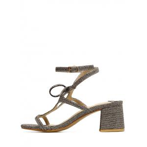 Glitters Ankle Strap Chunky Heel Party Sandals -