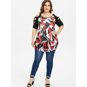 Plus Size Abstract Print Cut Tie Sleeve T-shirt -