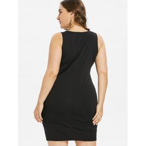 Robe moulante sans manches brodée grande taille -