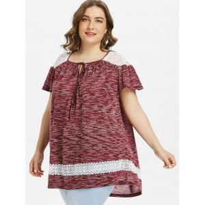 Plus Size Marled Lace Panel Peasant T-shirt -