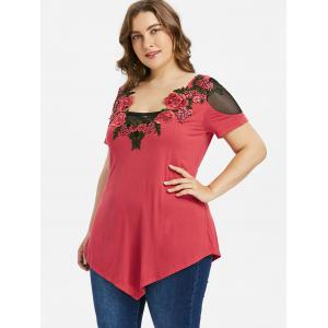 Plus Size Mesh Insert Embroidery T-shirt -