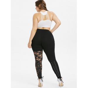Plus Size Sheer Lace Trim Lace Up Leggings -