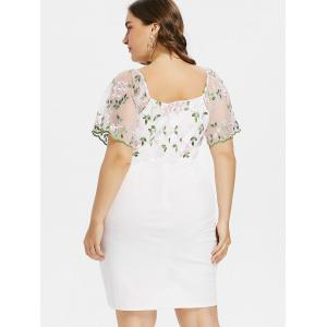 Plus Size V Neck Bell Sleeve Embroidery Overlap Dress -