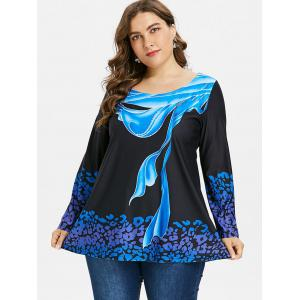 Plus Size Abstract Print Long Sleeve T-shirt -