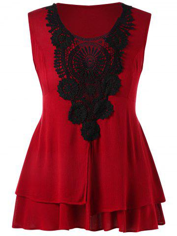 Plus Size Lace Crochet Panel Layered Tank Top - Red - 3x