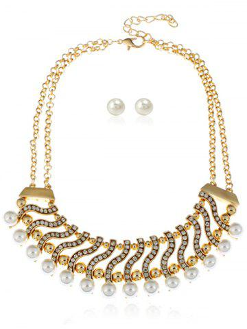 Sale Faux Pearl Rhinestone Layered Necklace with Earrings