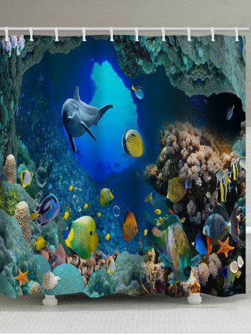 Sale 3D Sea World Dolphin Waterproof Bath Curtain