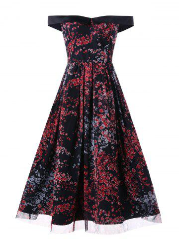Mesh Insert Floral Print Vintage Dress - MULTI - L