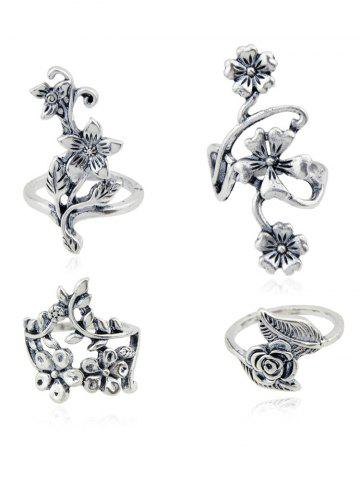 Outfit Set of 4Pcs Carving Floral Decorative Ring Collcetion