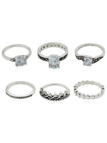 Chic 6Pcs Carved Crown Faux Gem Decorative Ring Set