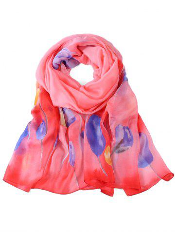 Outfits Soft Floral Pattern Embellished Long Scarf