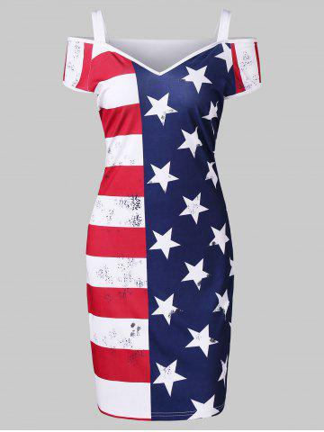 Outfit American Flag Print Cold Shoulder Dress
