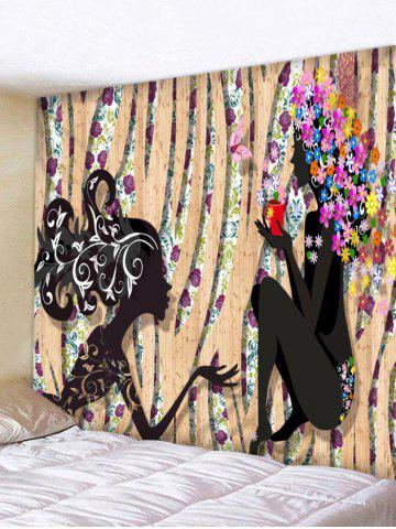 Chic Women Flower Print Tapestry Wall Hanging Decor