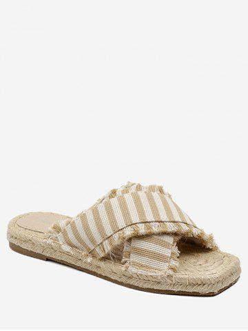 Best Straw Striped Leisure Flat Slippers