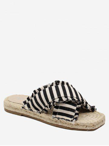 Online Straw Striped Leisure Flat Slippers