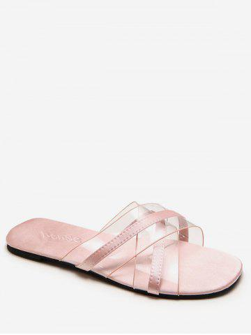 Best Flat Heel Crisscross Transparent Slides