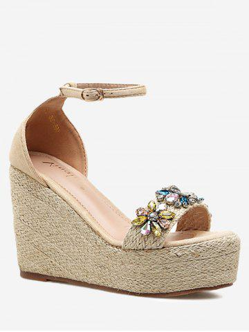 Chic Faux Crystal Floral Ankle Strap Wedge Heel Sandals