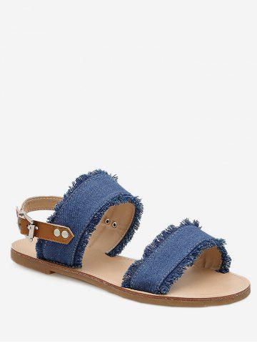 Fancy Jean Cloth Slingbacks Flat Sandals