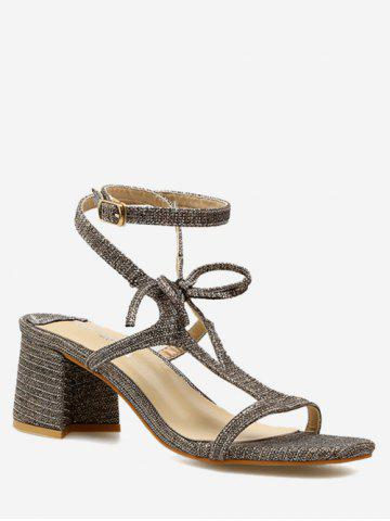 New Glitters Ankle Strap Chunky Heel Party Sandals