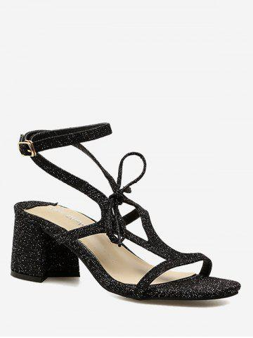 Buy Glitters Ankle Strap Chunky Heel Party Sandals